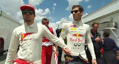 Фернандо Алонсо и Марк Уэббер держатся за руки на Гран-при Канады 2013