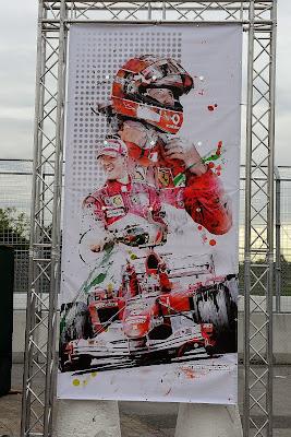 Михаэль Шумахер и Ferrari - баннер Art Rotondo на Гран-при Канады 2014