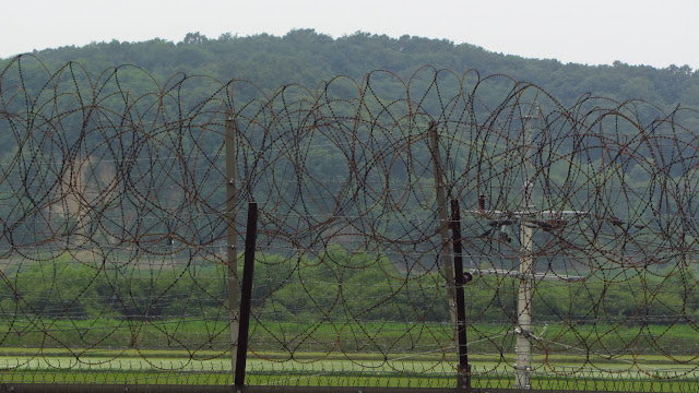 Barbed wire near the DMZ.