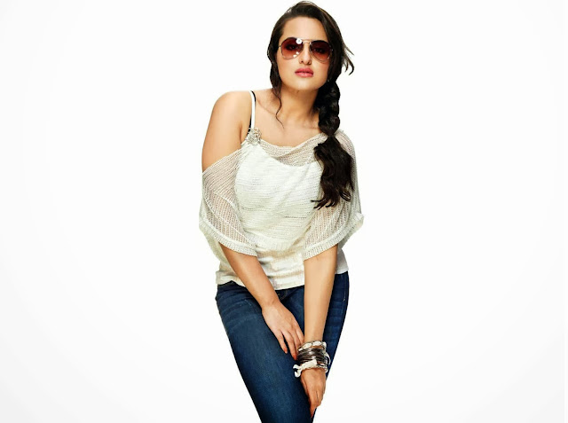 Sonakshi Sinha Fantastic And Cute Wallpapers In White Jeans Top