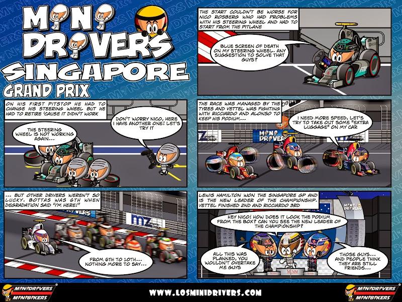 комикс MiniDrivers по гонке на Гран-при Сингапура 2014