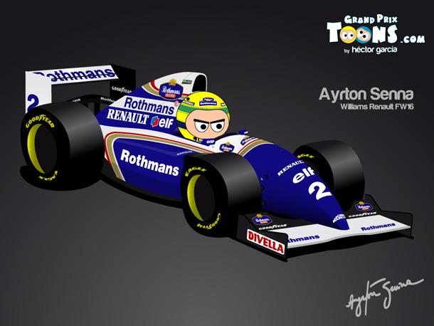 Айртон Сенна Williams FW16 1994 Grand Prix Toons