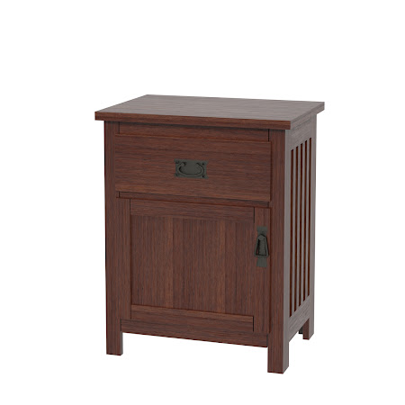Mission Nightstand with Door, Chocolate Cherry