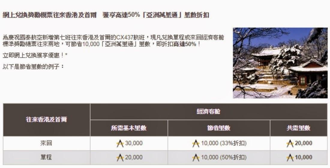 適用航班: 香港往首爾 – CX412/CX438/CX434/CX410/CX418/CX416/CX430/CX420 首爾往香港 – CX437  香港及台北之航班:CX496/CX466/CX472/CX408/CX463/CX475/CX495/KA483  航班時間表 https://www.cathaypacific.com/content/dam/cx/book-a-trip/Timetable/cxtimetable.pdf
