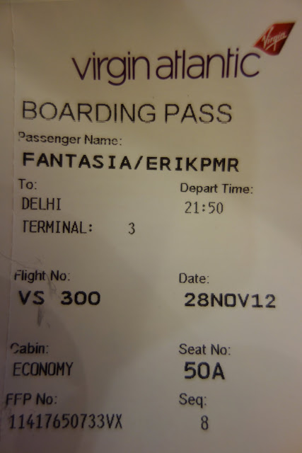Ticket to ride - my boarding pass from London To New Delhi, India.