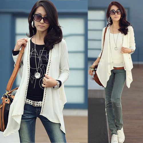 Women-Flutter-Mid-length-Studded-Casual-Outerwear-Tops-Cardigan-Black-White-Gray