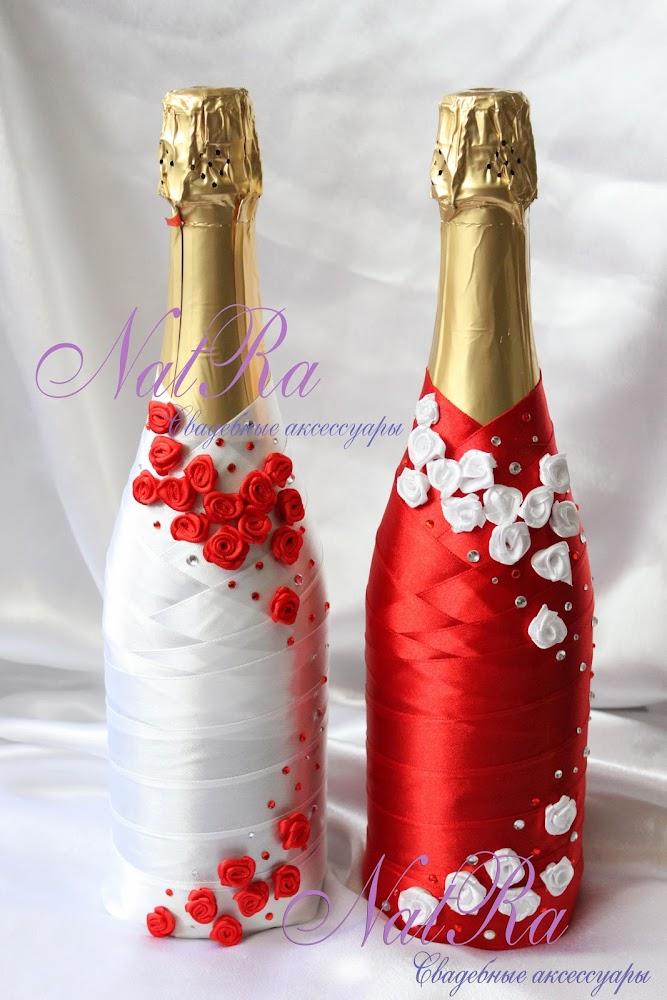 Украсить бутылку лентами фото