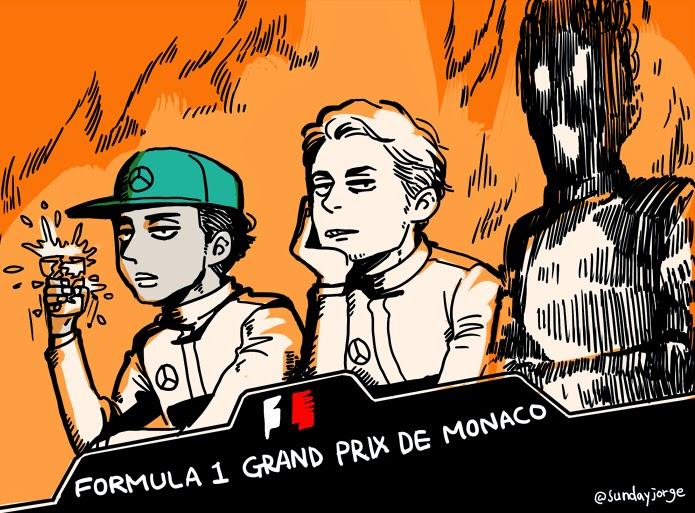 неловкая пресс-конференция после квалификации Гран-при Монако 2014 - комикс Sunday Jorge