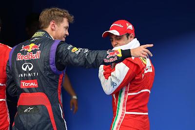 Себастьян Феттель и Фелипе Масса после квалификации на Гран-при Малайзии 2013
