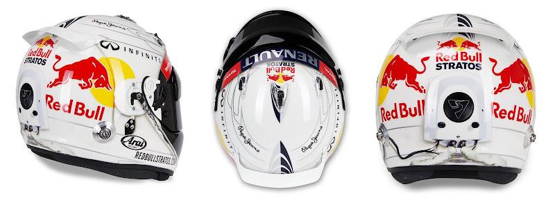 трибьют-шлем Себастьяна Феттеля Феликсу Баумгартнеру и его прыжку из стратосферы для Гран-при Австралии 2013