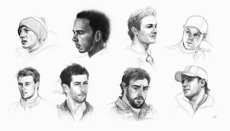 черно-белые рисунки пилотов Формулы-1