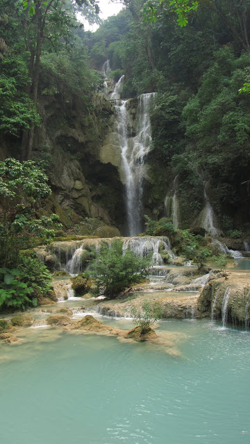 The main falls at Kuang Si.