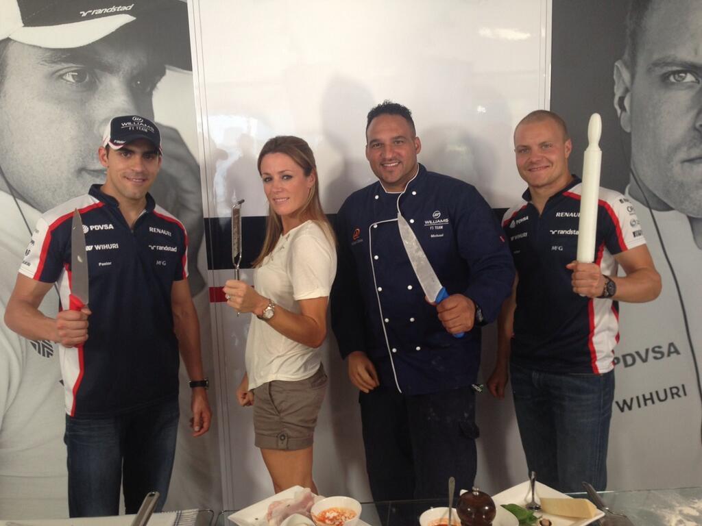 Натали Пинкхэм и пилоты Williams вооружены ножами на Гран-при Италии 2013