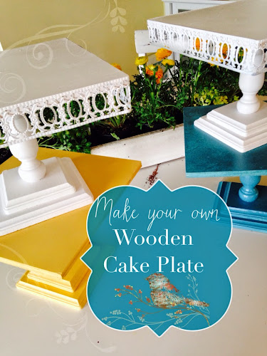 Make your own wooden cake plate, cake plate tutorial, white yellow Turqoise cake plates