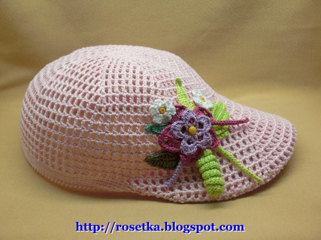 схема вывязывания донышка летней шапочки крючком