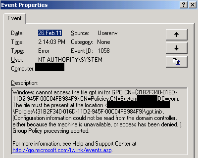 Userenv errors 1010on both Windows 20Domain Controllers