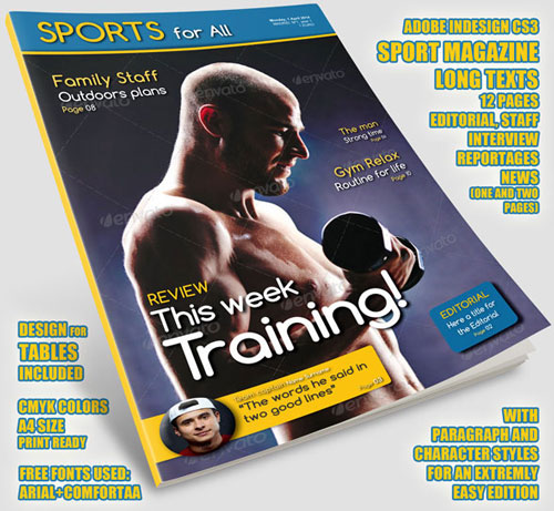 Sport-for-All Plantilla InDesign para Revista, portada