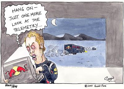 Себастьян Феттель с ноутбуком Red Bull - комикс Black Flag