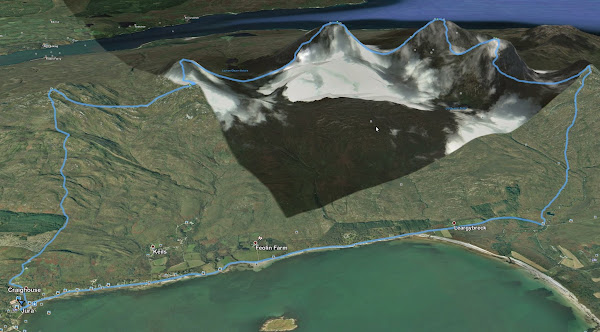 Route projected onto Google Earth