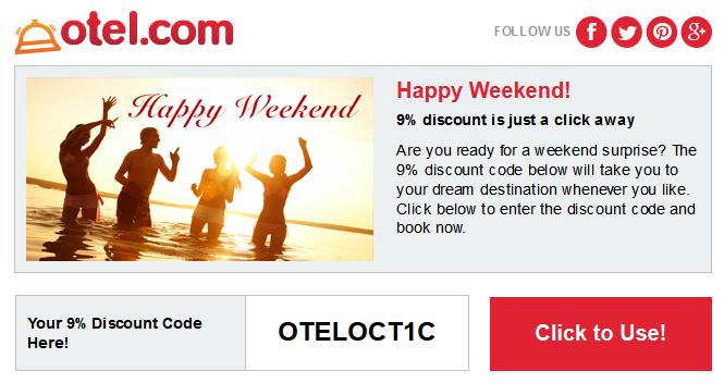 Otel.com 最新9.1折優惠碼,10月7日前適用。