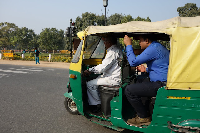 An auto rickshaw on Delhi's streets.