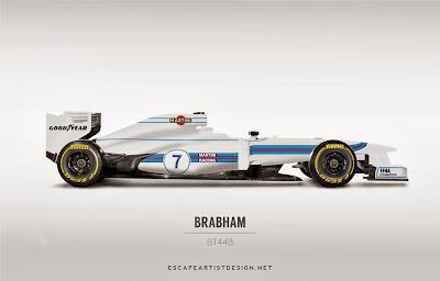 современный болид в раскраске Brabham BT44B - Escape Artist Design
