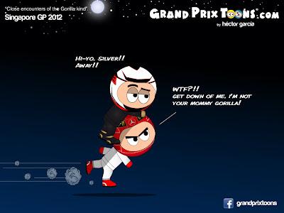 Кими Райкконен верхом на Михаэле Шумахере на Гран-при Сингапура 2012 комикс Grand Prix Toons