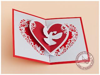 Pop-up валентинка Голубинное сердце