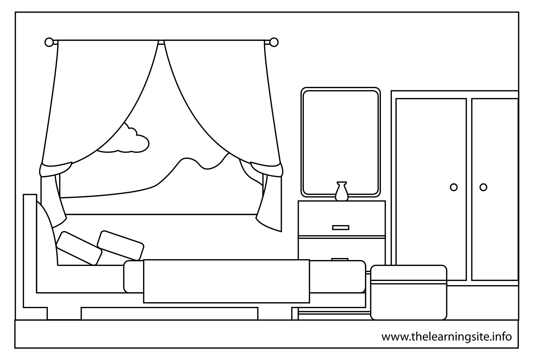 Coloring pages parts of a house title