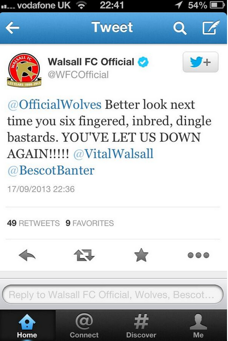 Screen+Shot+2013 09 18+at+01.08.32 Walsall issue apology after tweet cussed six fingered, inbred Wolves, claim account was hacked
