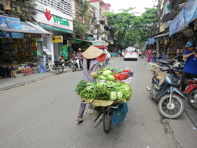 A mobile vegetable vendor.