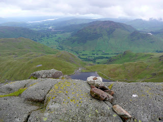 Pavey Ark Summit with Stickle Tarn far below