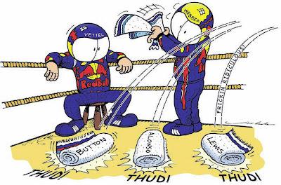 Себастьян Феттель не побеждает на Сильверстоуне - комикс Jim Bamber после Гран-при Великобритании 2011