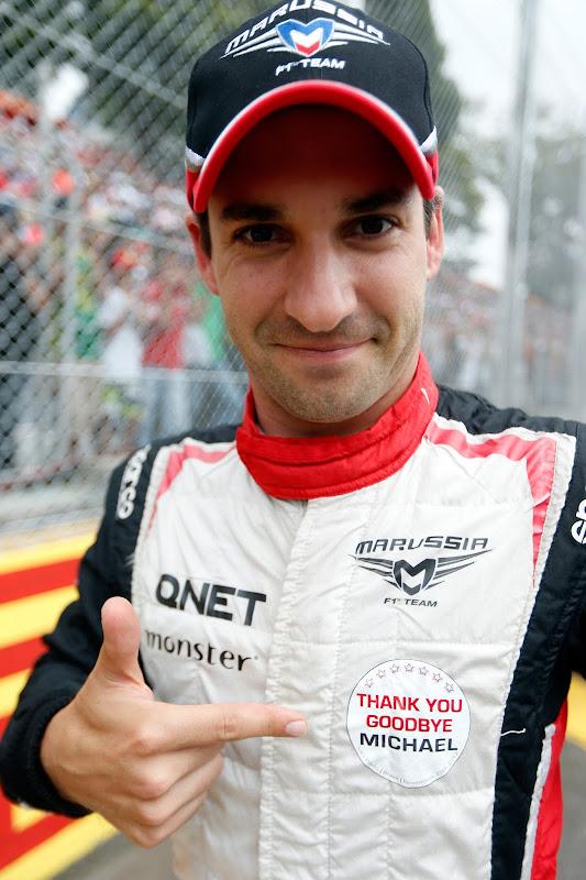 Тимо Глок прощается с Михаэлем Шумахером на Интерлагосе на Гран-при Бразилии 2012