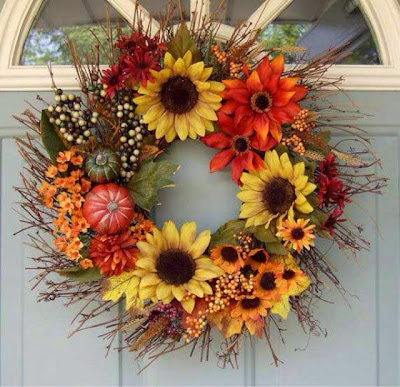 sunflowers wreath, fall decor, fall wreaths