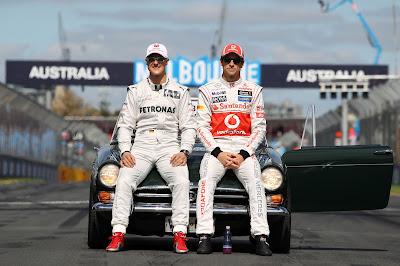 Михаэль Шумахер и Дженсон Баттон на фотосессии чемпионов на Гран-при Австралии 2012
