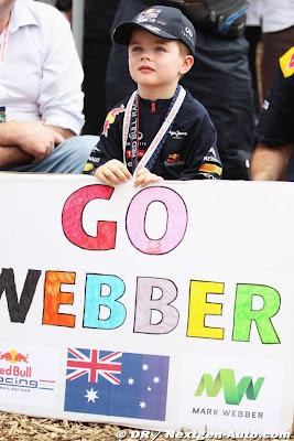 маленький болельщик Марка Уэббера на Гран-при Австралии 2012