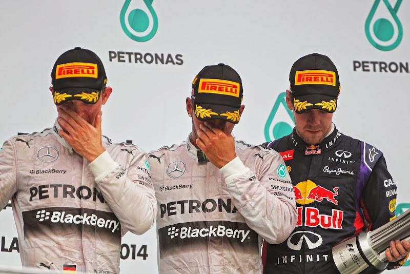 грустный подиум на Гран-при Малайзии 2014