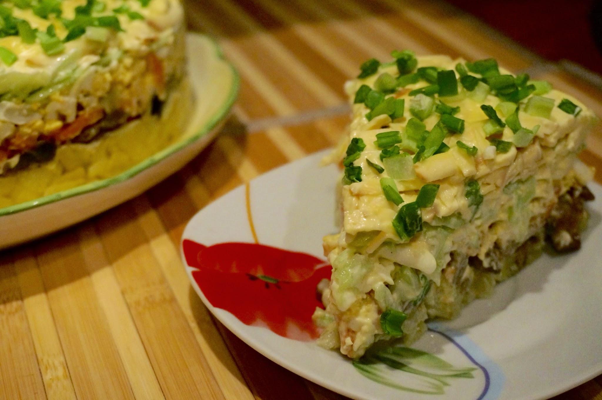 Салат с грибами и сыром рецепт с очень вкусный с