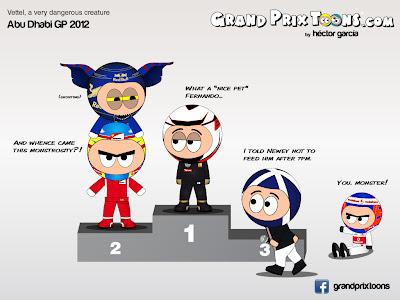 Себастьян Феттель на подиуме - комикс Grand Prix Toons по Гран-при Абу-Даби 2012