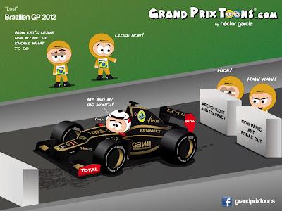 Кими Райкконен и маршалы Интерлагоса - комикс Grand Prix Toons по Гран-при Бразилии 2012