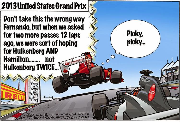 Фернандо Алонсо дважды обгоняет Нико Хюлькенберга - комикс Bruce Thomson по Гран-при США 2013