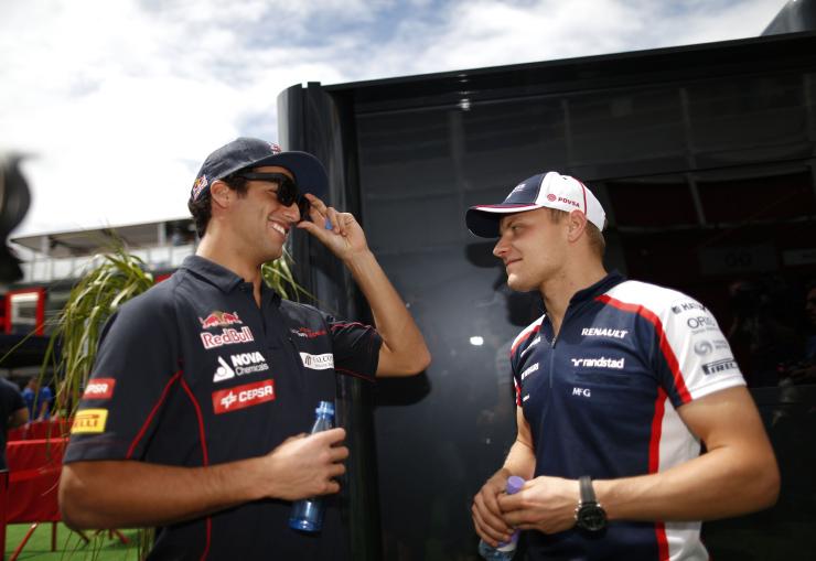 Даниэль Риккардо и Вальтери Боттас на Гран-при Испании 2013