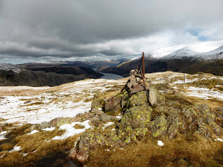 Old County Boundary Fence Post at the summit of Steel Fell or Dead Pike