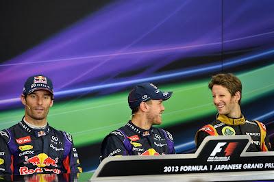 Себастьян Феттель смешит Ромэна Грожана на пресс-конференции в воскресенье на Гран-при Японии 2013