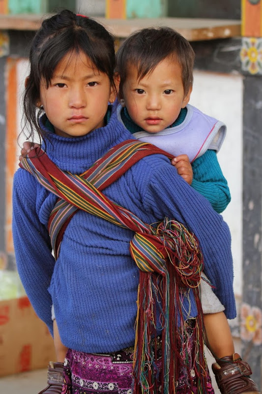 A young Bumthang girl and her kid brother