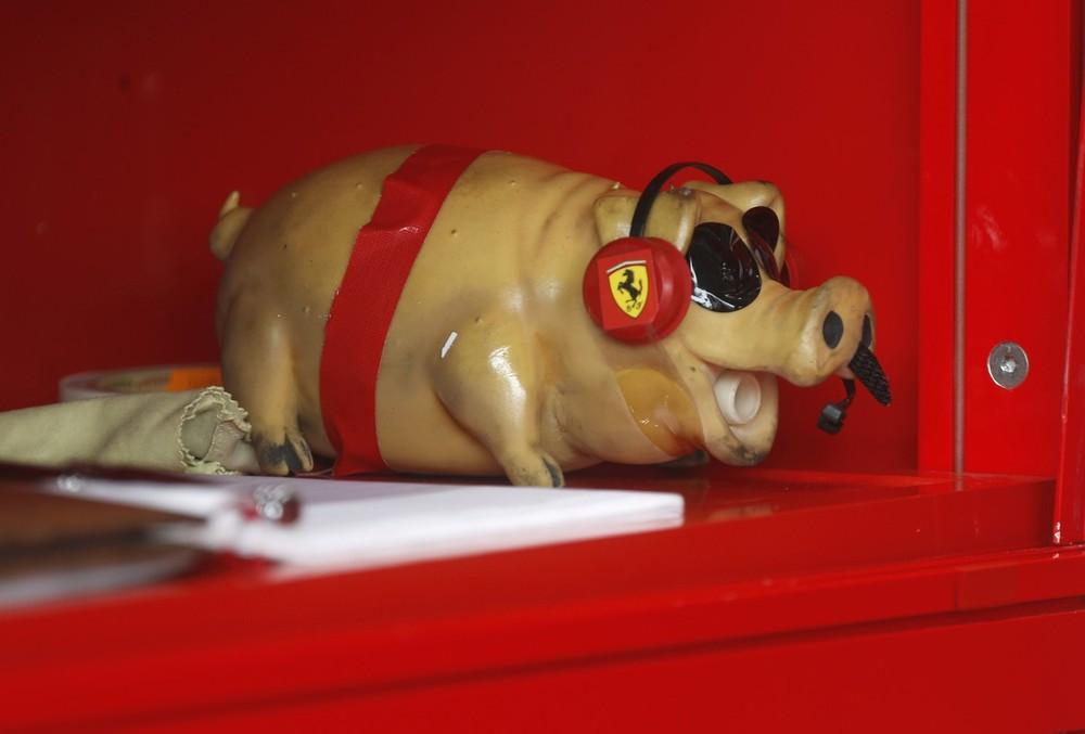 талисман свинка Ferrari на Гран-при Германии 2012