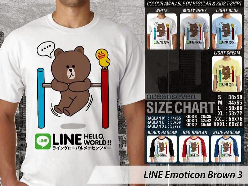 KAOS IT LINE Emoticon Brown 3 Social Media Chating distro ocean seven