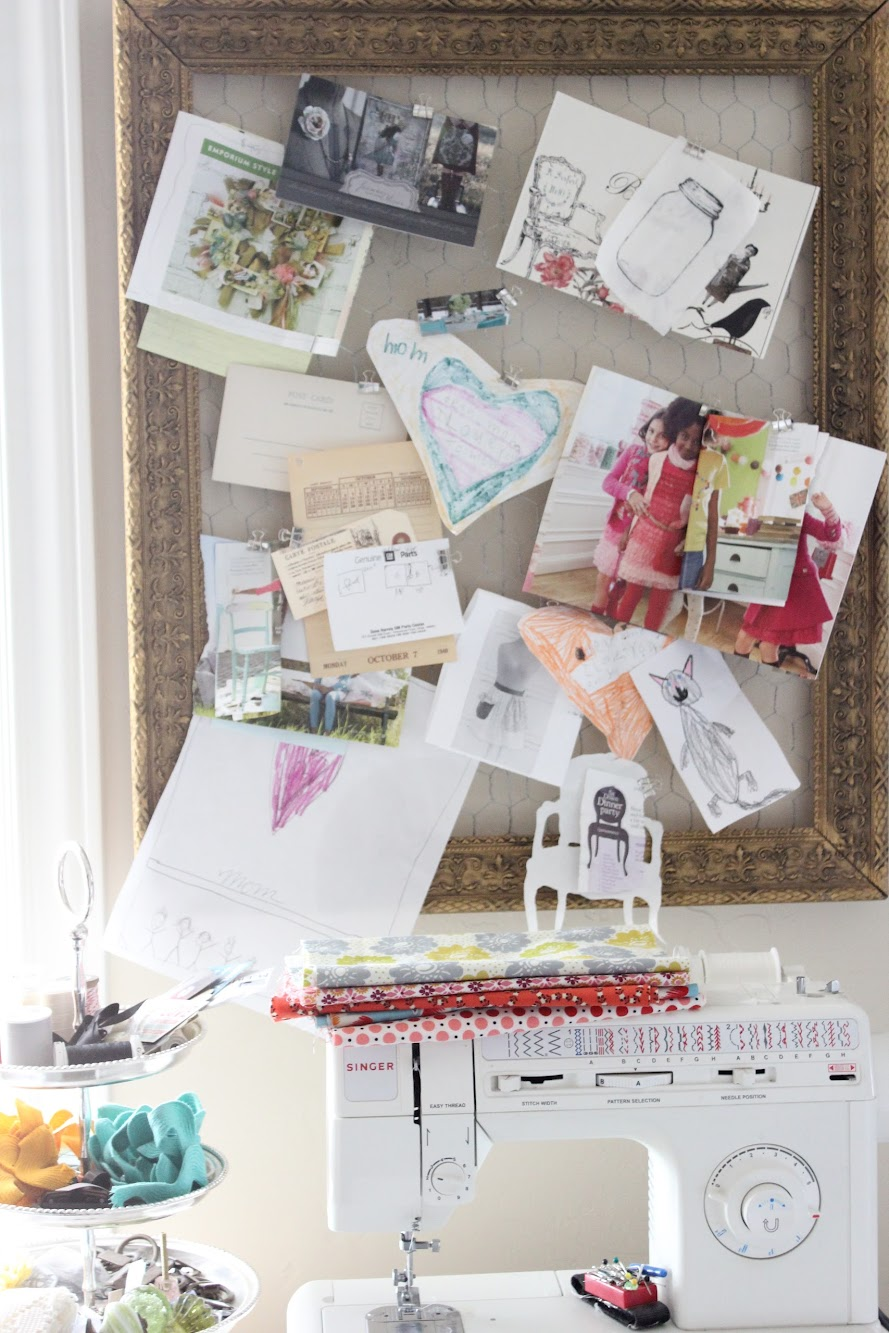 a gold and chicken wire inspiration board, and getting ready to do a little sewing