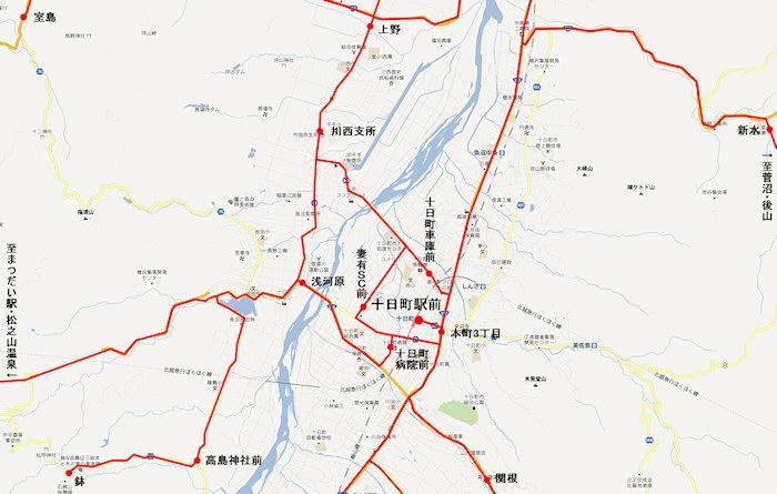 十日町駅バス路線図